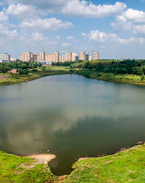 Парк и озеро рядом с домом